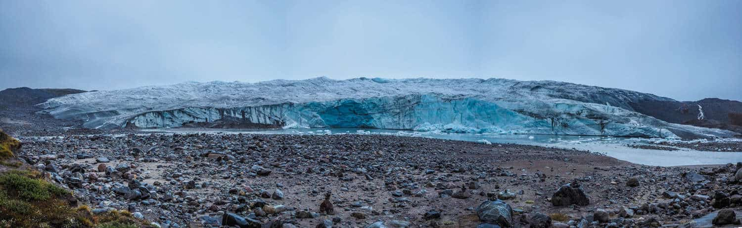 Panoramic view of the Russel Glacier Greenland