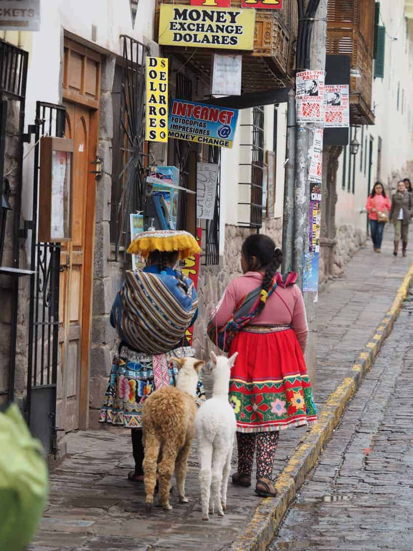 locals on the street in Peru