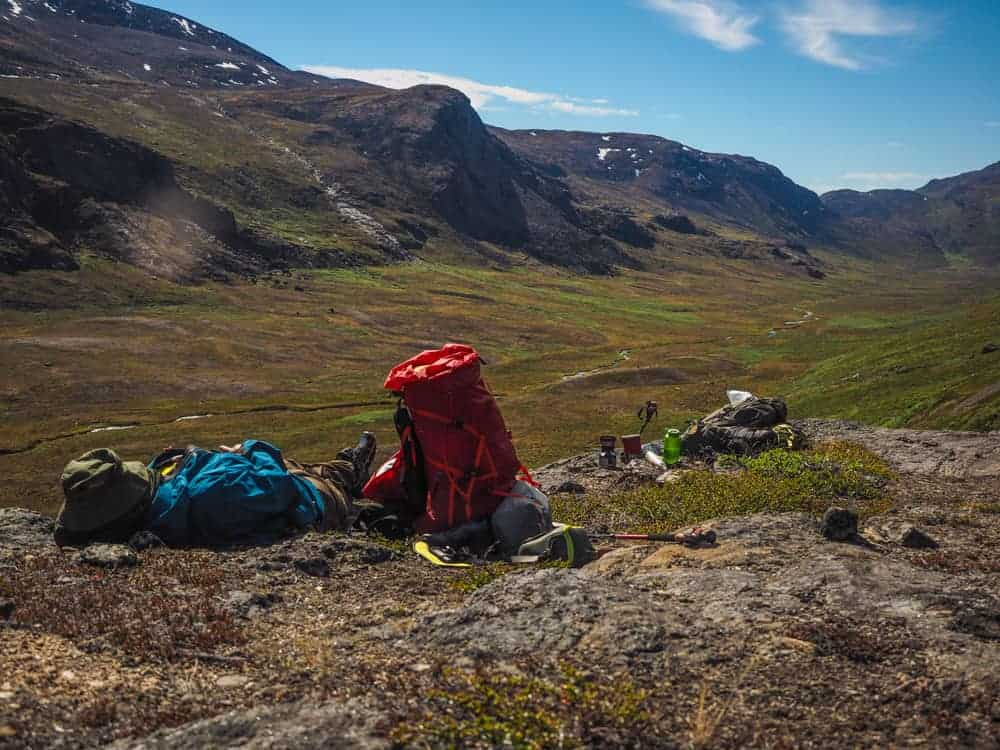 Arctic Circle Trail. having a rest in Greenland