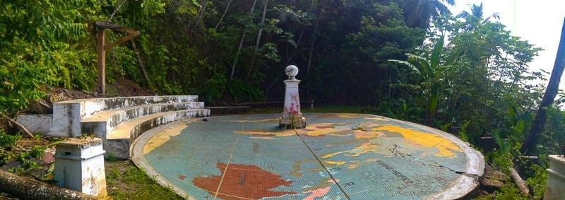 The Equator mark at Rolas island sao tome