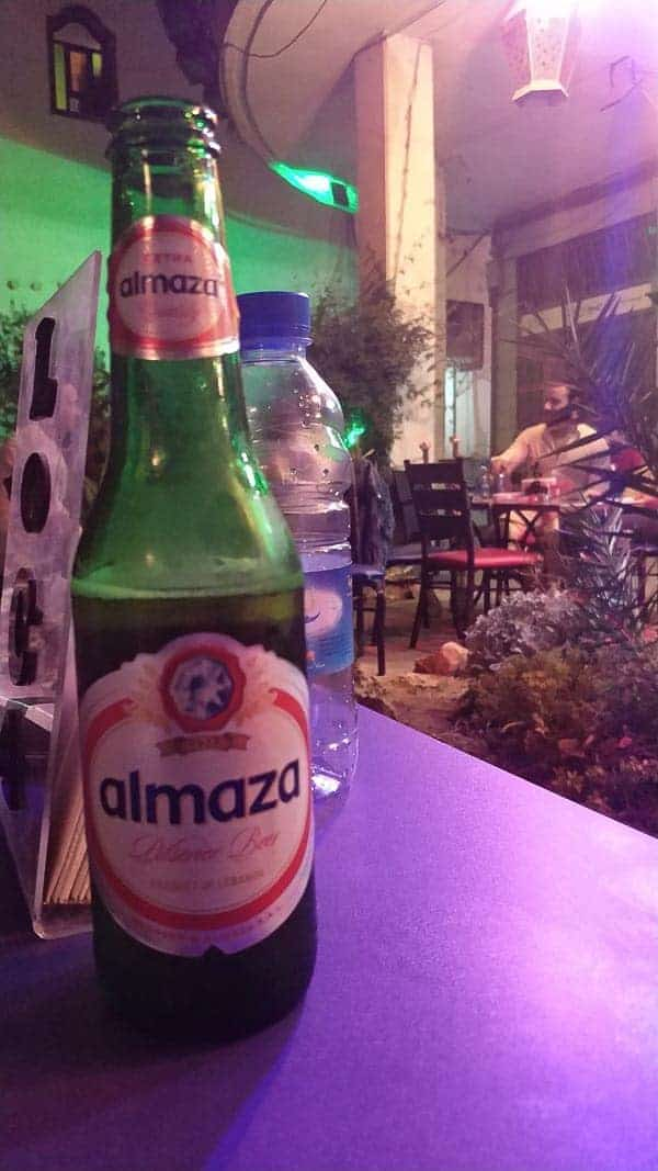 drinking Lebanon beer in Damascus the capital of Syria