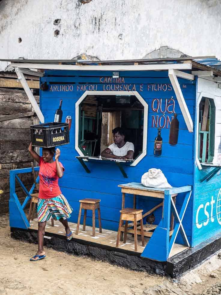 A local bar in the village, where I stopped for a beer sao tome