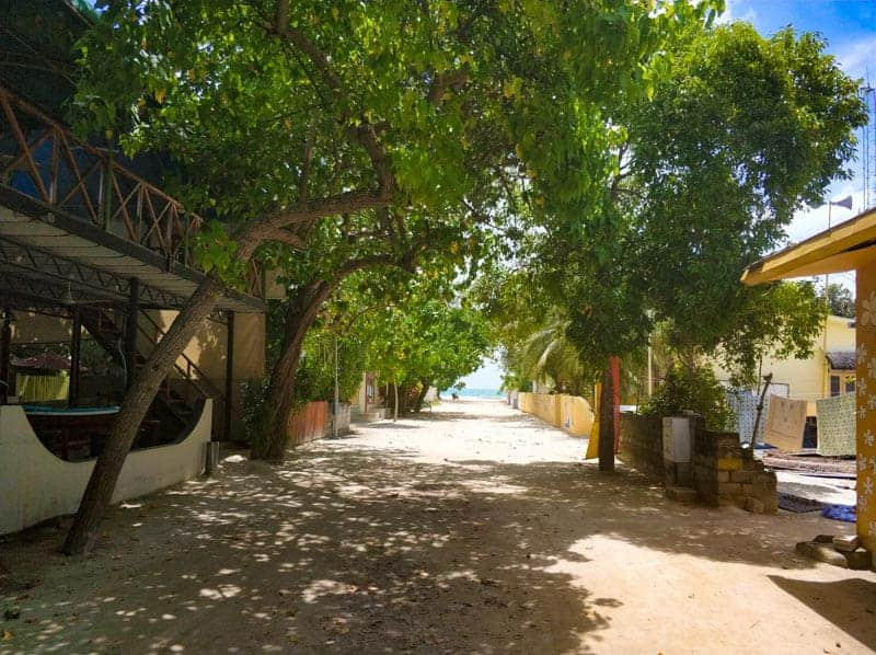 Dhigurah main street in the Maldives