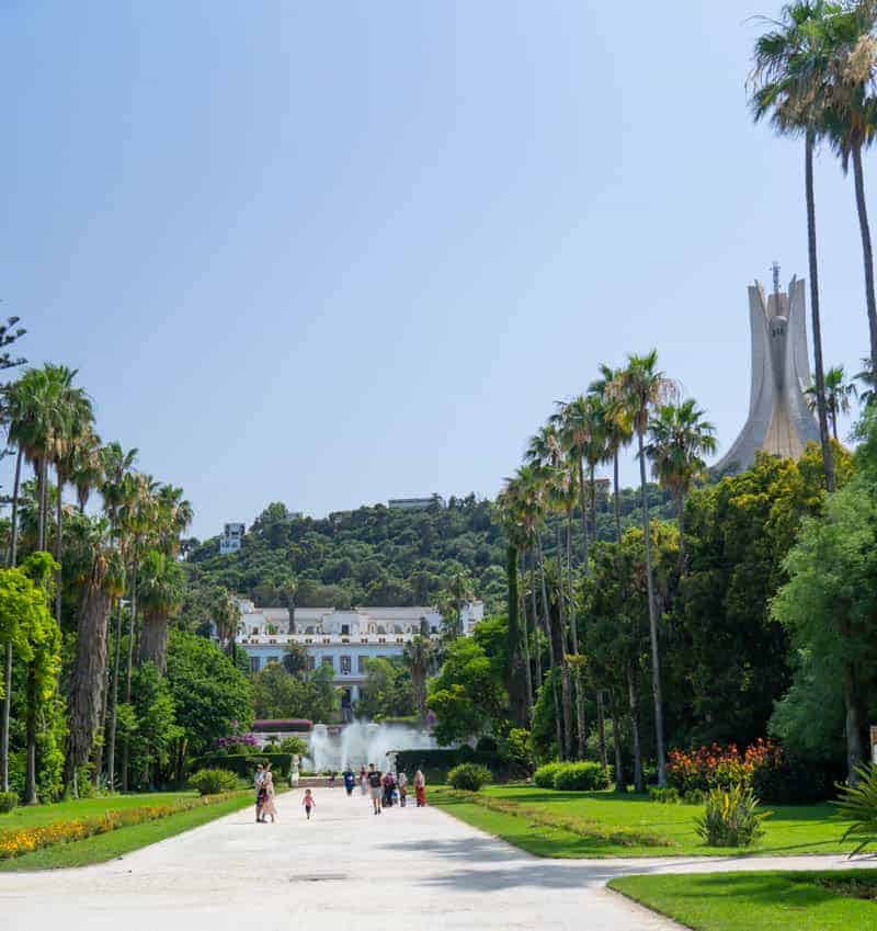 National Museum of Fine Arts of Algiers (Le Musee National Des Beaux-Arts). and the Matyr´S Monument seen from the Botanical Garden in Algiers