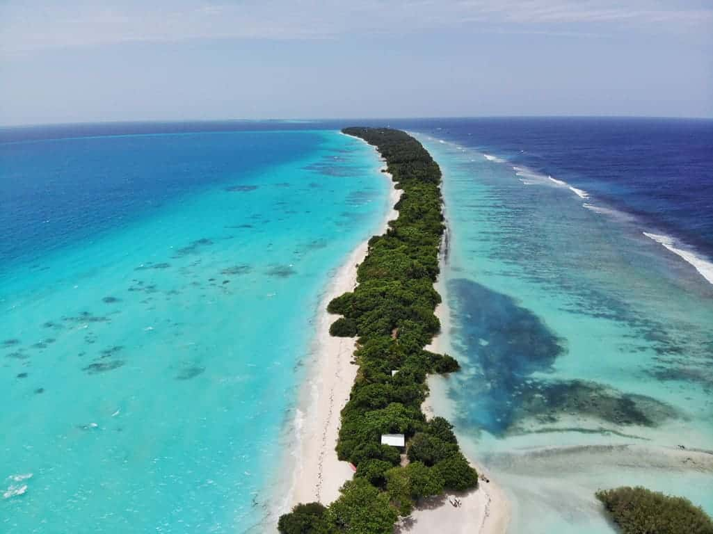 Dhigurah island from above in the Maldives