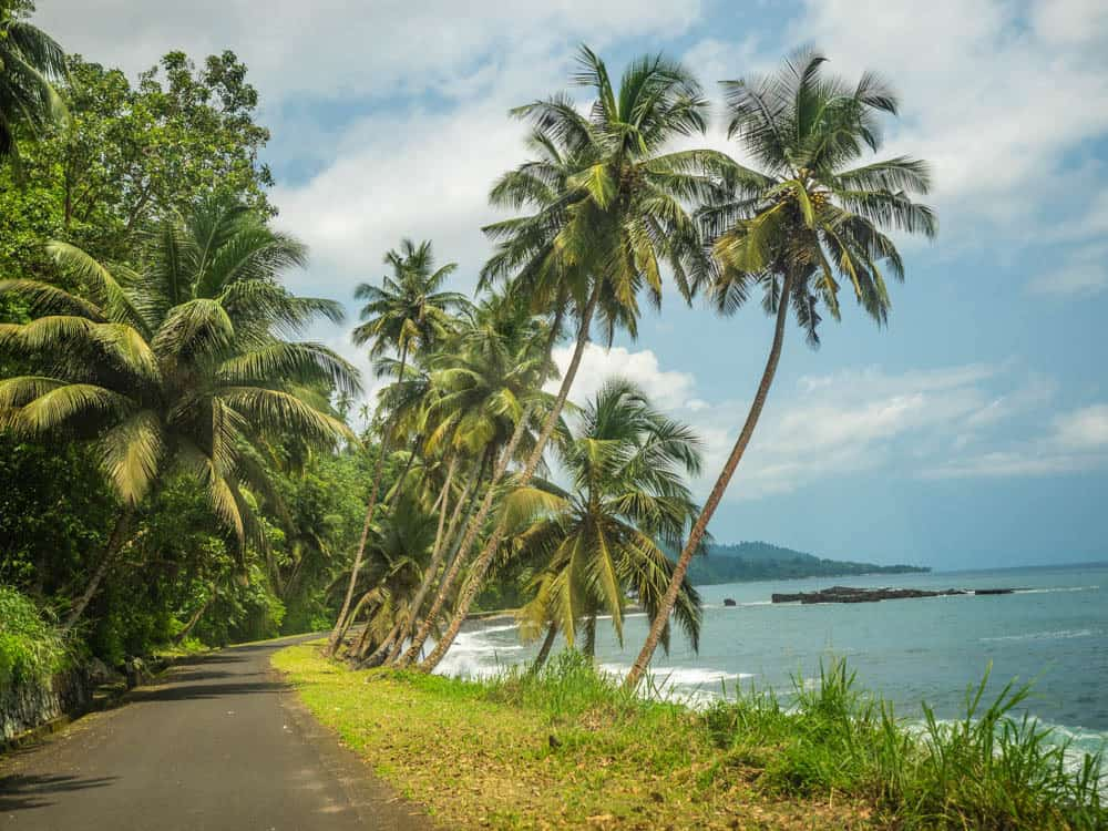 The road along the northern coast of sao tome