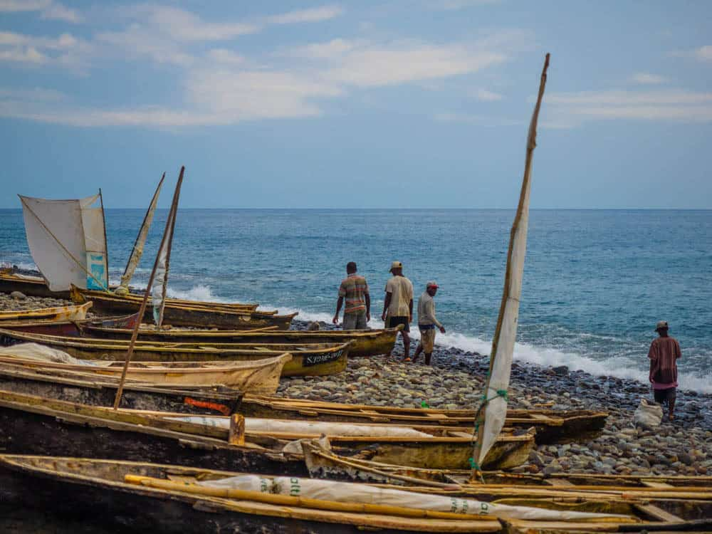 Local fishing boats in Santa Catarina.