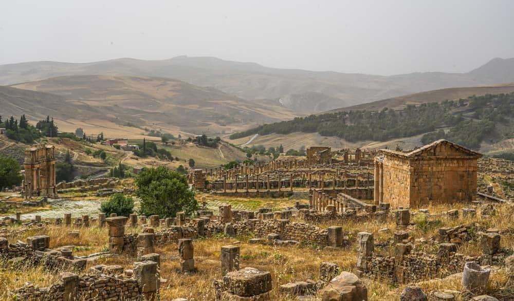 Panorama of Djemila Roman Ruins in Algeria