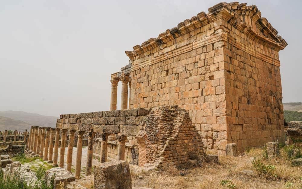 Temple of Gens Septimia in Djemila roman ruuins in Algeria