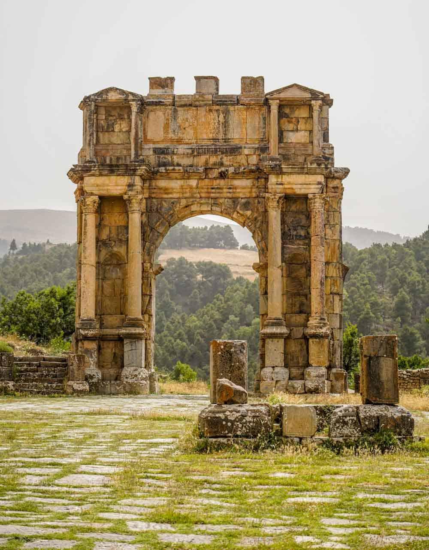 Djemila roman ruins Arch of Caracallaos in Algeria