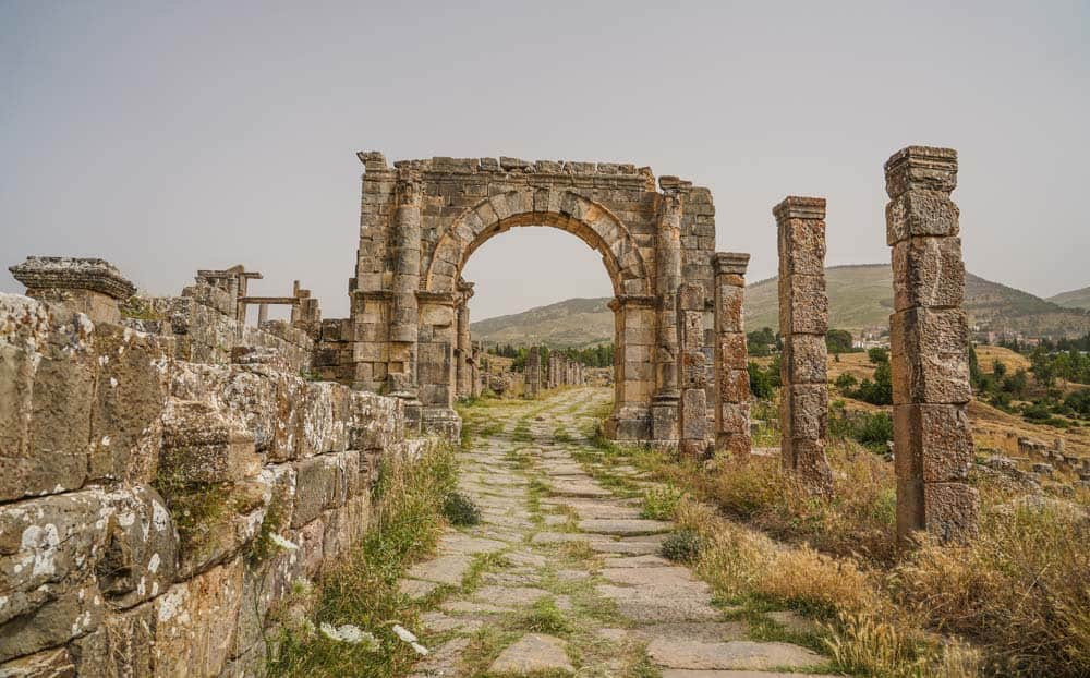 Cardo Maximus Road djemila roman ruins in algeria