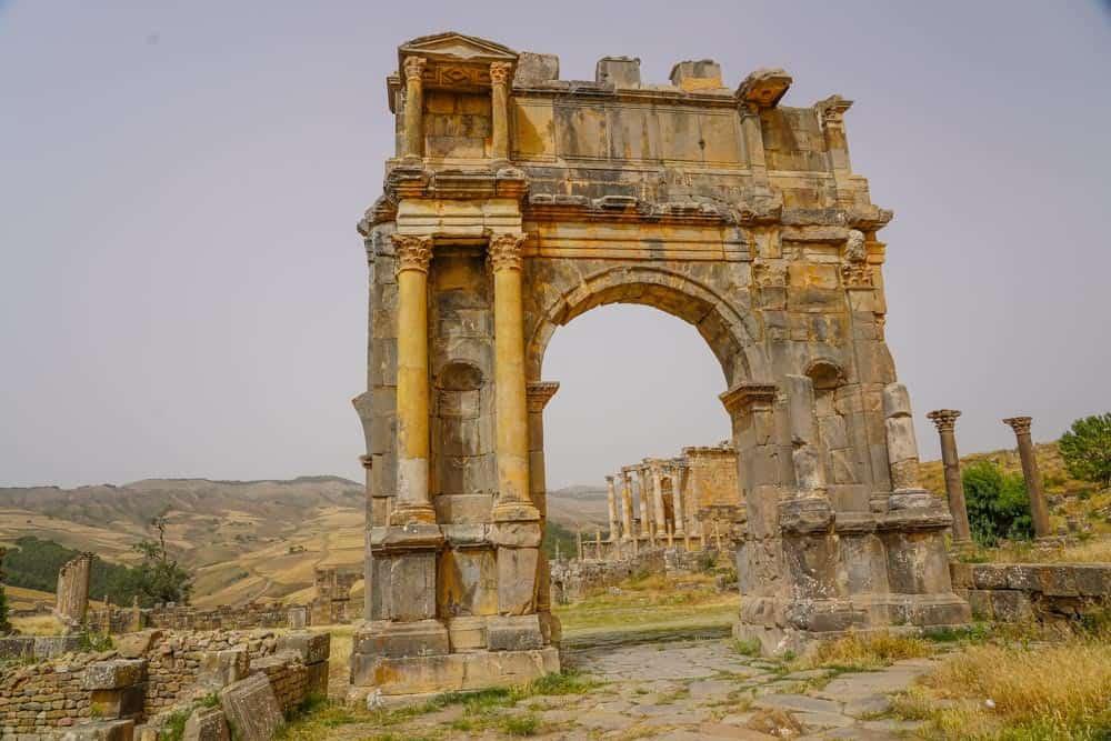 Djemila,Arch of Caracallaos roman ruins in Algeria
