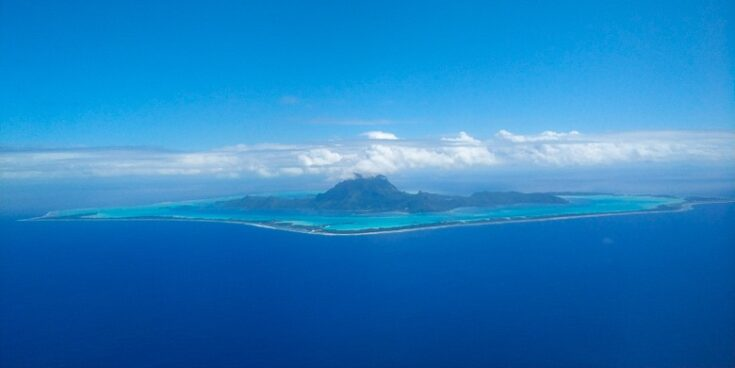 The view of Bora Bora before going into landing, blame the dirty windows on the airplane for the quality