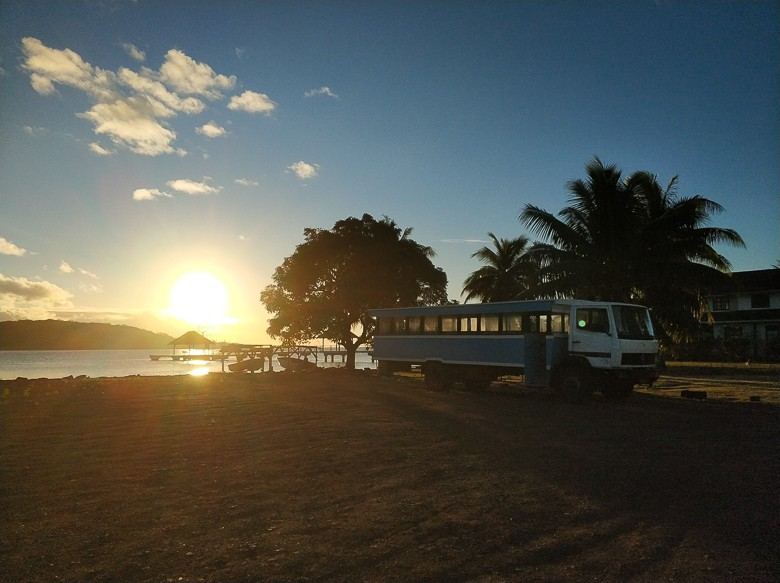 The ONLY bus on the island, parked for the eveening on Bora Bora