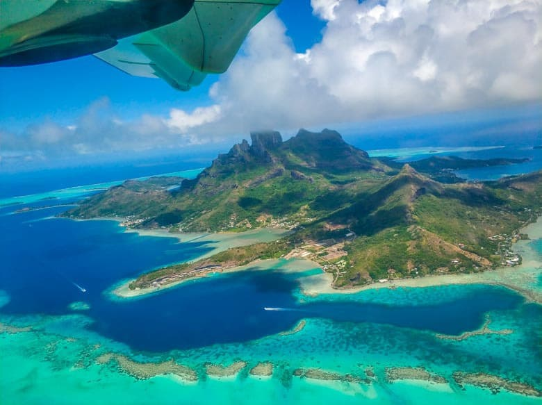 Bora Bora as seen from the window on flight before arirving.