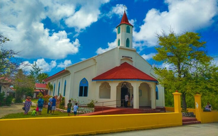 The colourful Catholic church in middle of the town