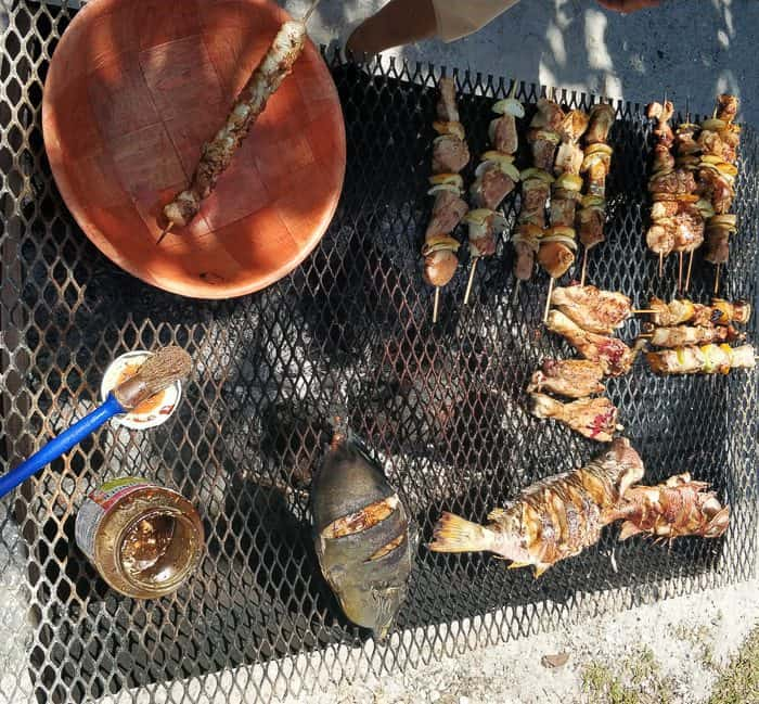 Typical BBQ food on the Atoll, fresh fish and chicken BBQ