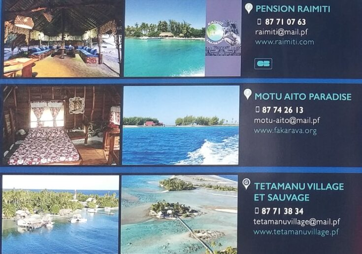 All Accommodation option on the Southern Part of Fakarava