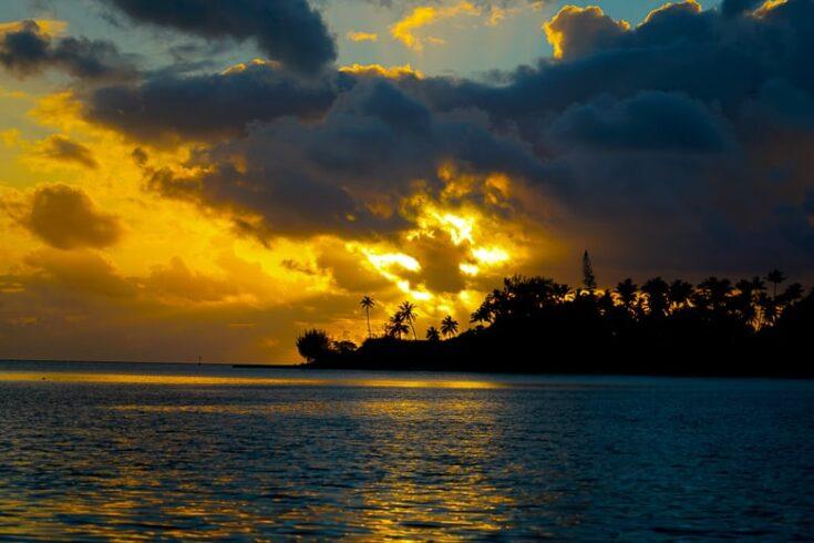 bora bora beach sunset