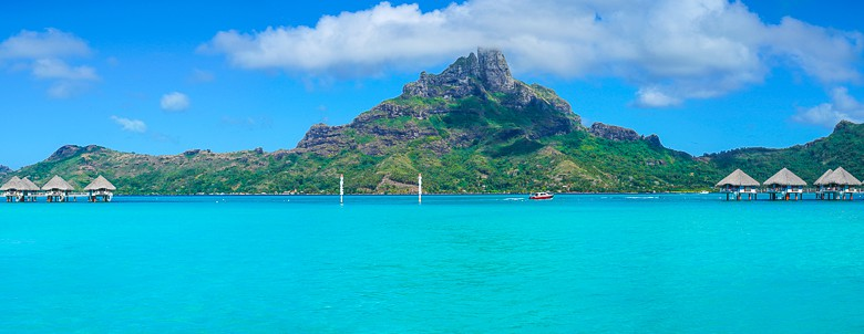 Looking back towards Mount Otemanu in Bora Bora French Polynesia