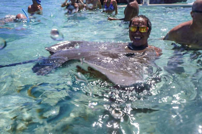 The lagoon is famous for where you can hold stingrays in bora Bora