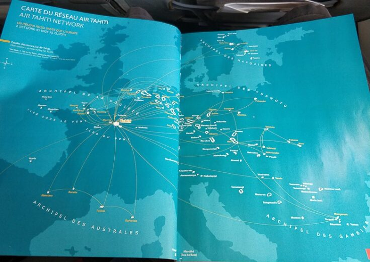 Flight Map for Air Tahiti, showing the distances and size of French Polynesia compared to Europe.