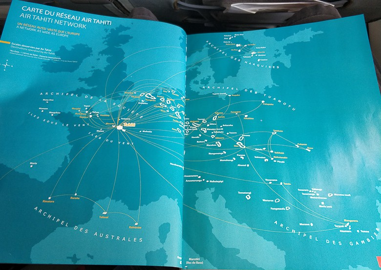 Flight Map for Air Tahiti, showing the distances and size of French Polynesia compared to Europe. travel guide