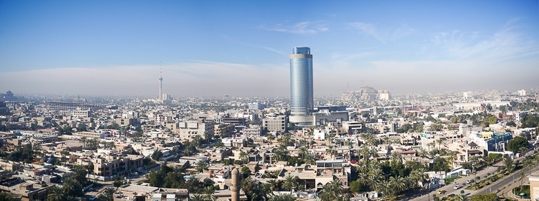 Panoramic view over Baghdad from top of the Ferries Wheel in Baghdad Zoo.