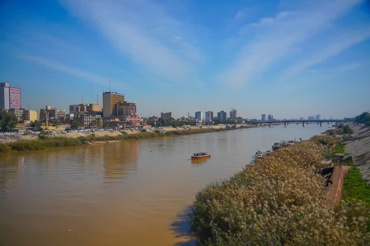 Walking across the Tigris river in central Baghdad