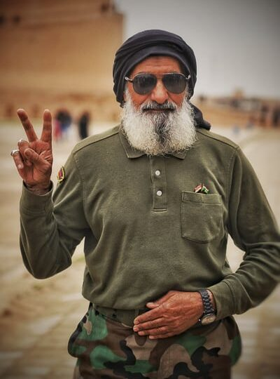 Local Shia Militas solider visiting the Great Mosque of Samarra in Iraq