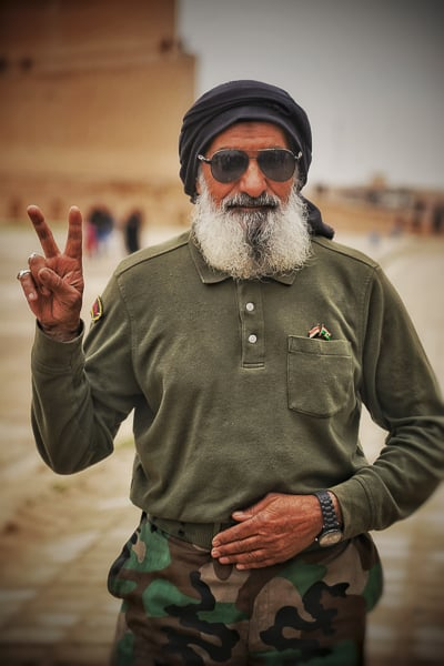 Local Shia Militas solider visiting the Great Mosque of Samarra.