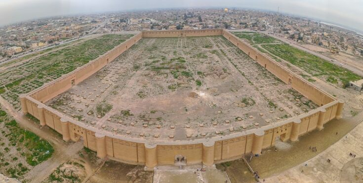 Looking out over the remains of the Great Mosque of Samarra from the top of the Minaret /Malwiya Tower in Iraq