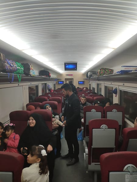 The local train between Basra and Baghdad train got completely full.
