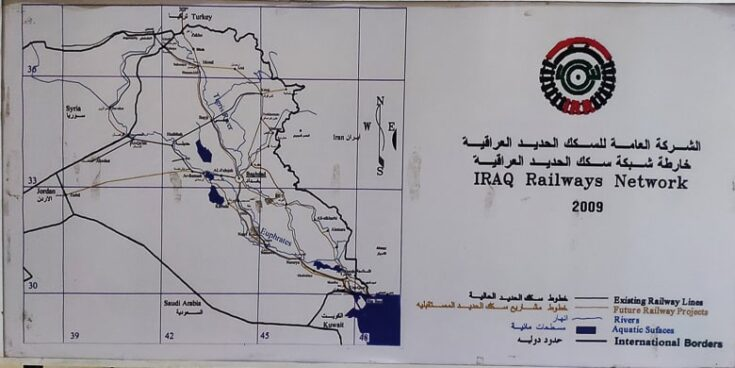 A map over the railway in Iraq at Baghdad Station.