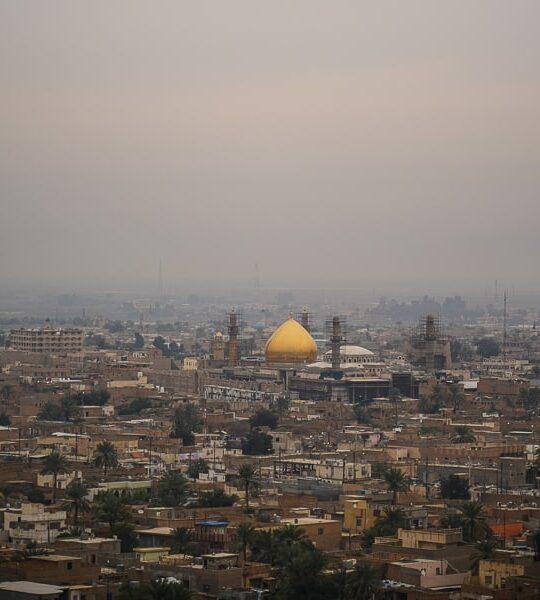 The Al-Askari Shrine is far distance as seen from the top of the Minaret / Malwiya Tower in Samara in Iraq