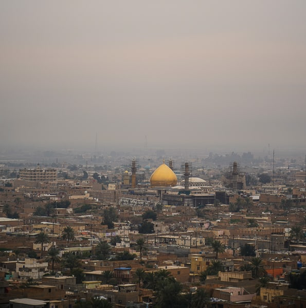 The Al-Askari  Shrine is far distance as seen from the top of the Minaret / Malwiya Tower