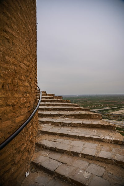 Climbing to the top of the Tower of Samara tower in iRAQ