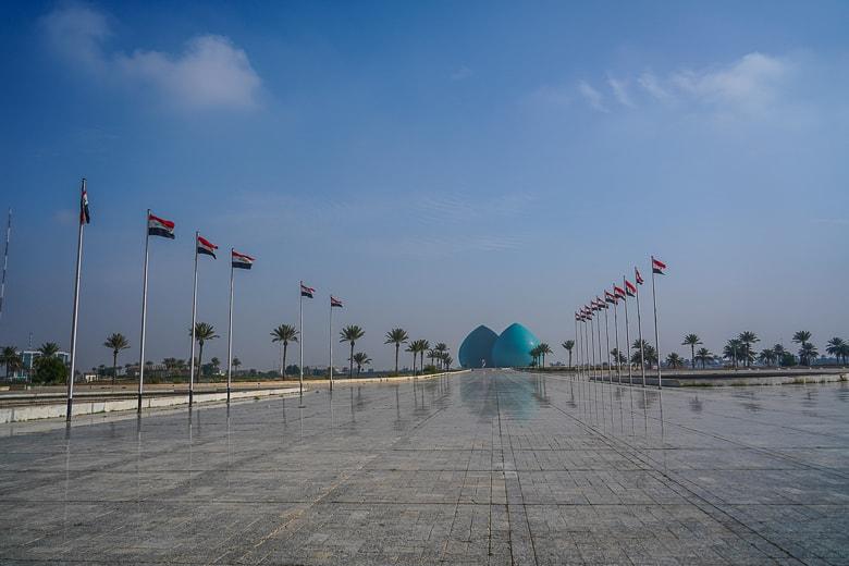Walking towards Al-Shaheed Monument in Baghdad Iraq
