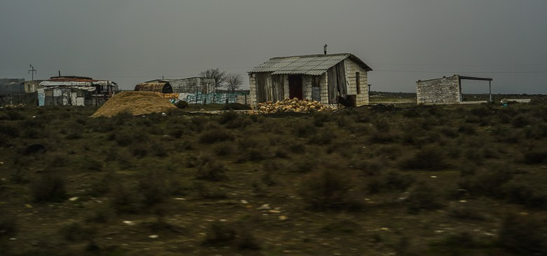 One of the few and remote settlements along the day in Turkmenistan