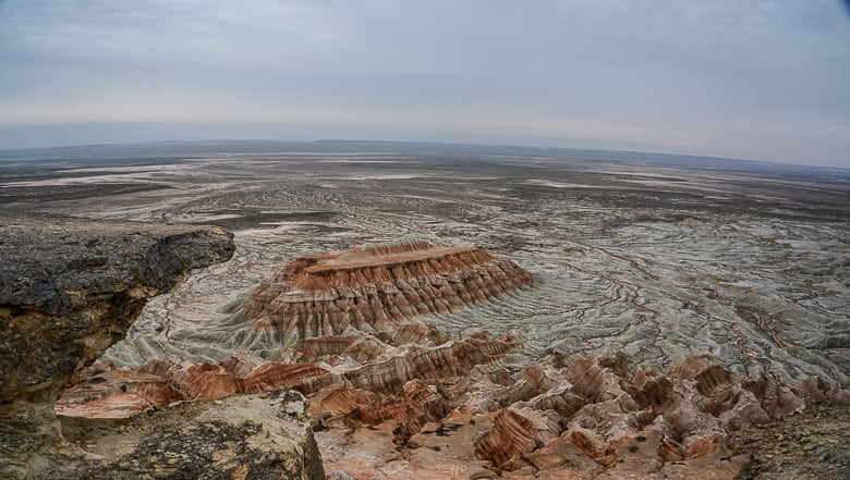 The viewpoint called jaws of a crocodile in Yangykala Canyon Turkmenistan