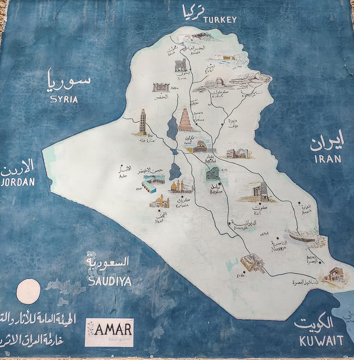 Map of all the most important historical sites around Iraq.