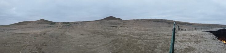The two hills overlooking the crater, notice the fenze that was put up in September 2018, but it´s easy to climb over. turkmenistan