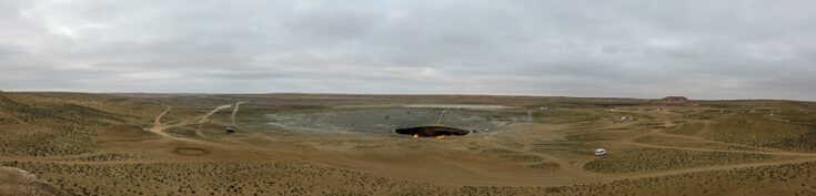 The Gates To hell, seen from one of the two hills overlooking DARVAZA GAS CRATER turkmenistan