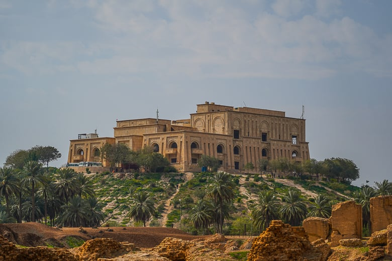 Saddam Husseins old palace overlooking Babylon.