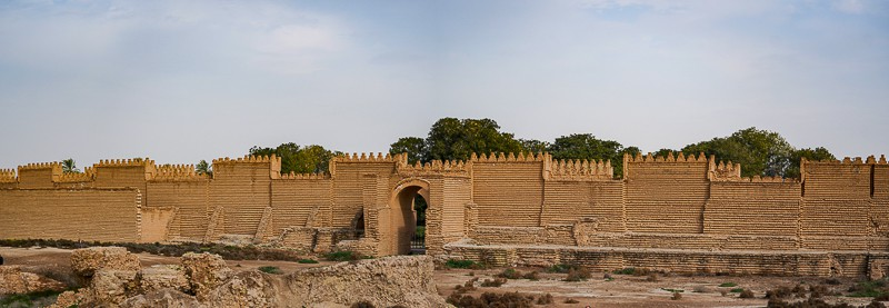 The rebuilt wall on top of the old ruins Babylon in Iraq