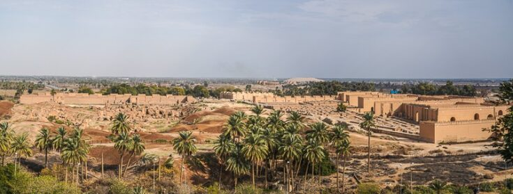 Panoramic view over Babylon from Saddam Husseins Palace.
