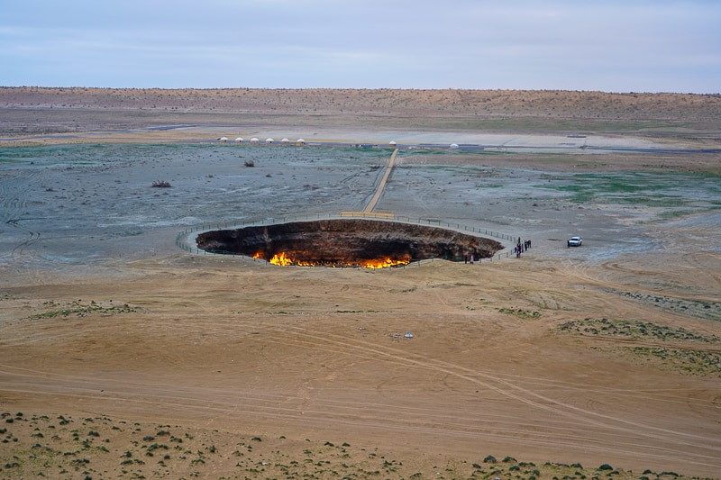 The Gates To hell, seen from one of the two hills overlooking DARVAZA GAS CRATER