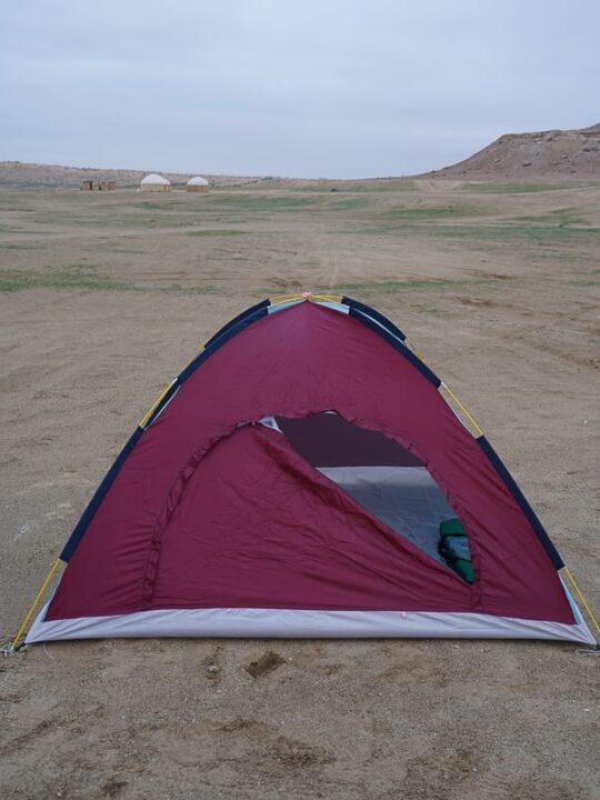 My cold tent that i slept in close to crater, tenting turkmenistan