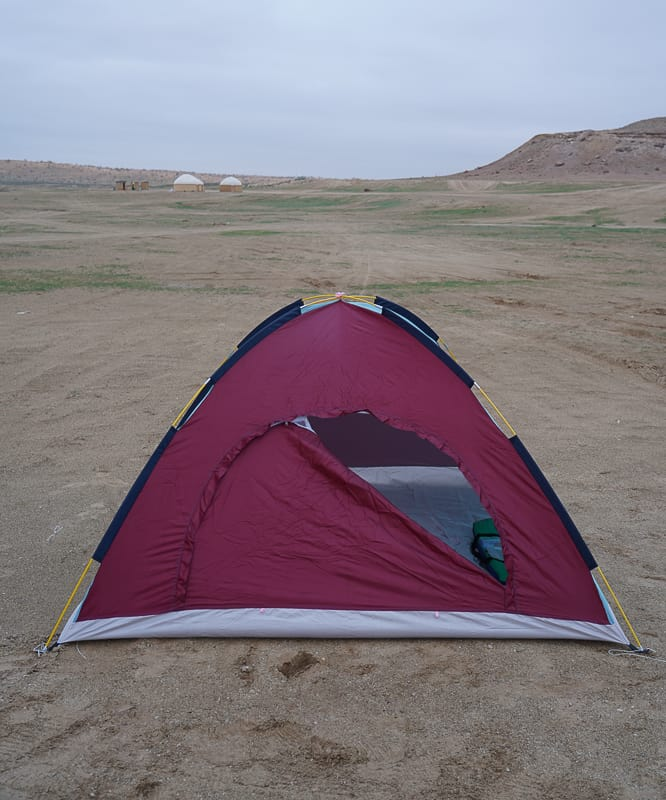 My cold tent that i slept in close to crater