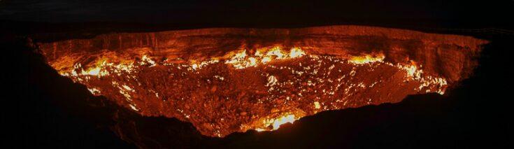 the crater after dark turkmenistan